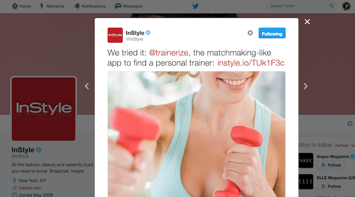 Instyle review of Trainerize
