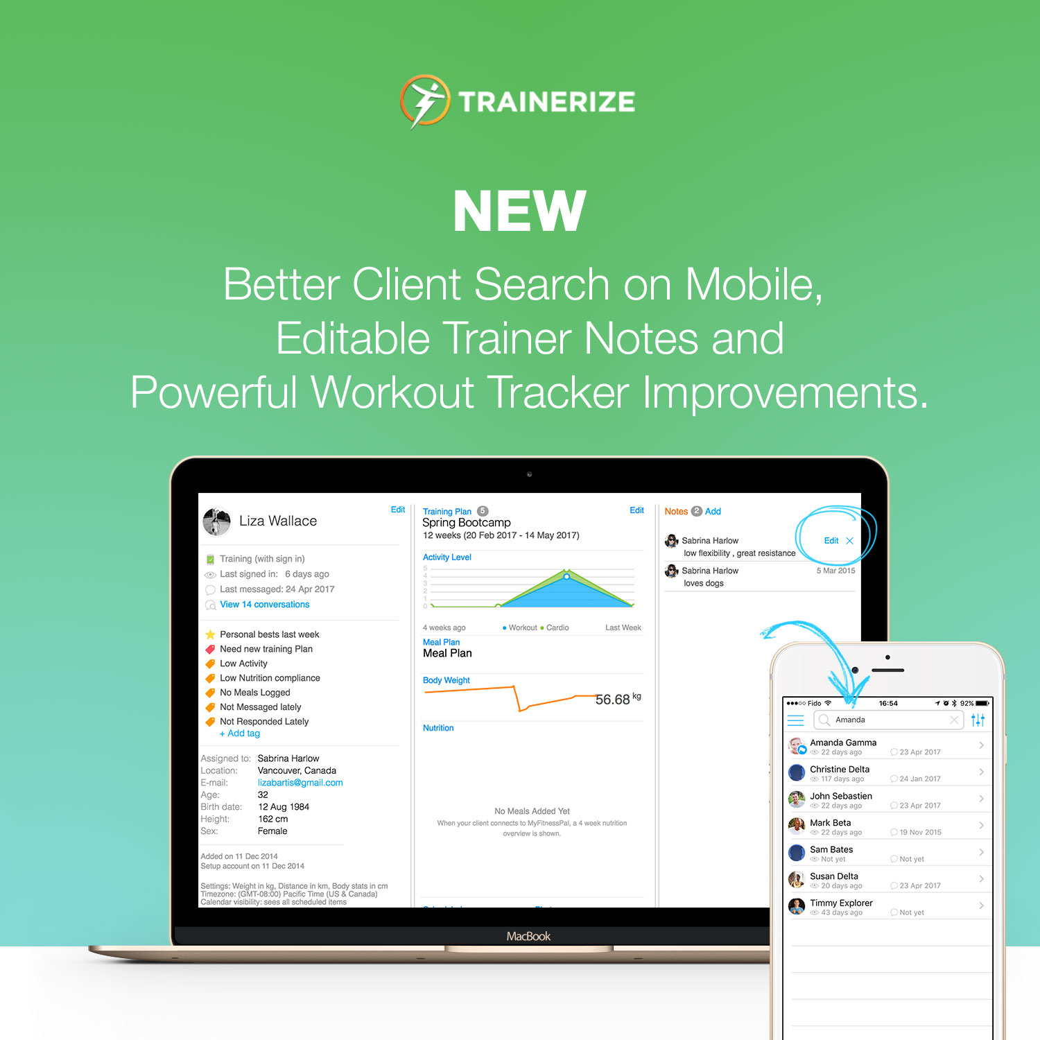 workout tracker, mobile client search, editable trainer notes