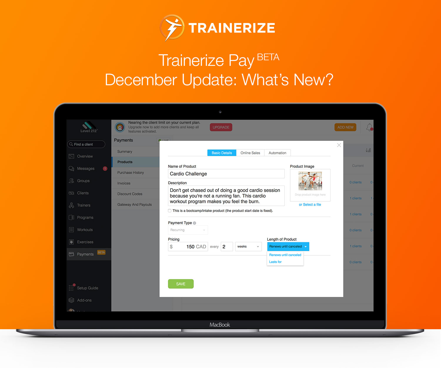 Trainerize Pay BETA December Update