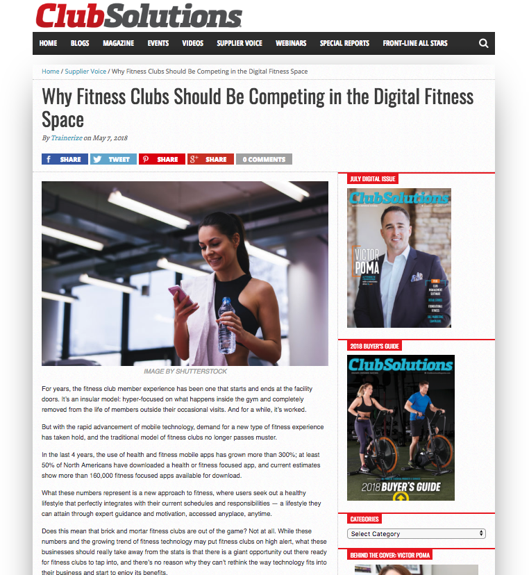 Trainerize featured in Club Solutions magazine and talks fitness technology and clubs
