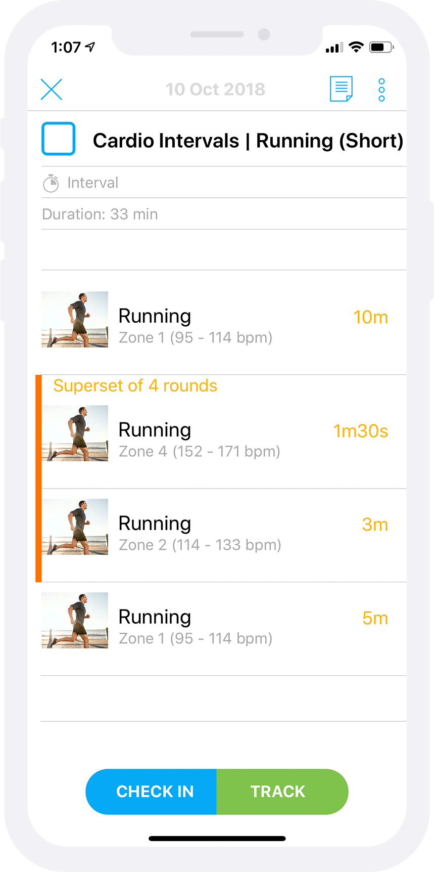 Cardio Interval Workout Being Tracked in Trainerize