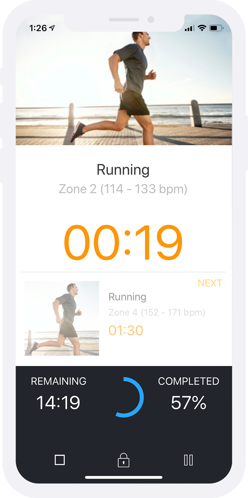 Cardio Interval Workout in Progress via Trainerize