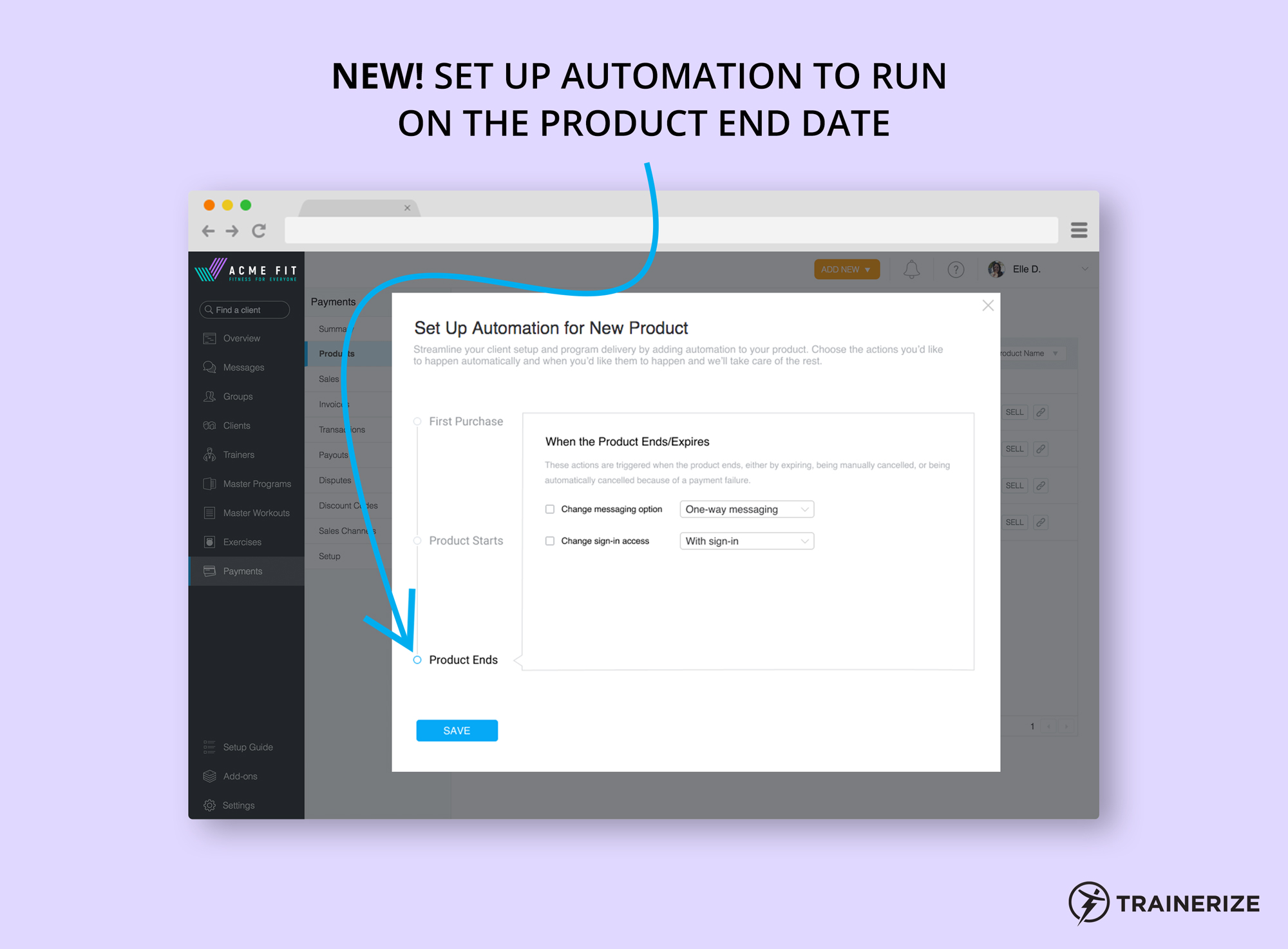 Trainerize Pay Automation for Product End