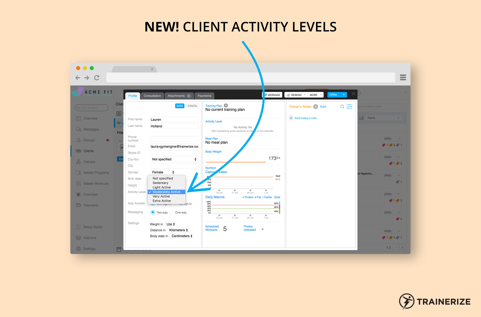 New in Trainerize: Client Activity Levels used to set Client Nutrition Goals