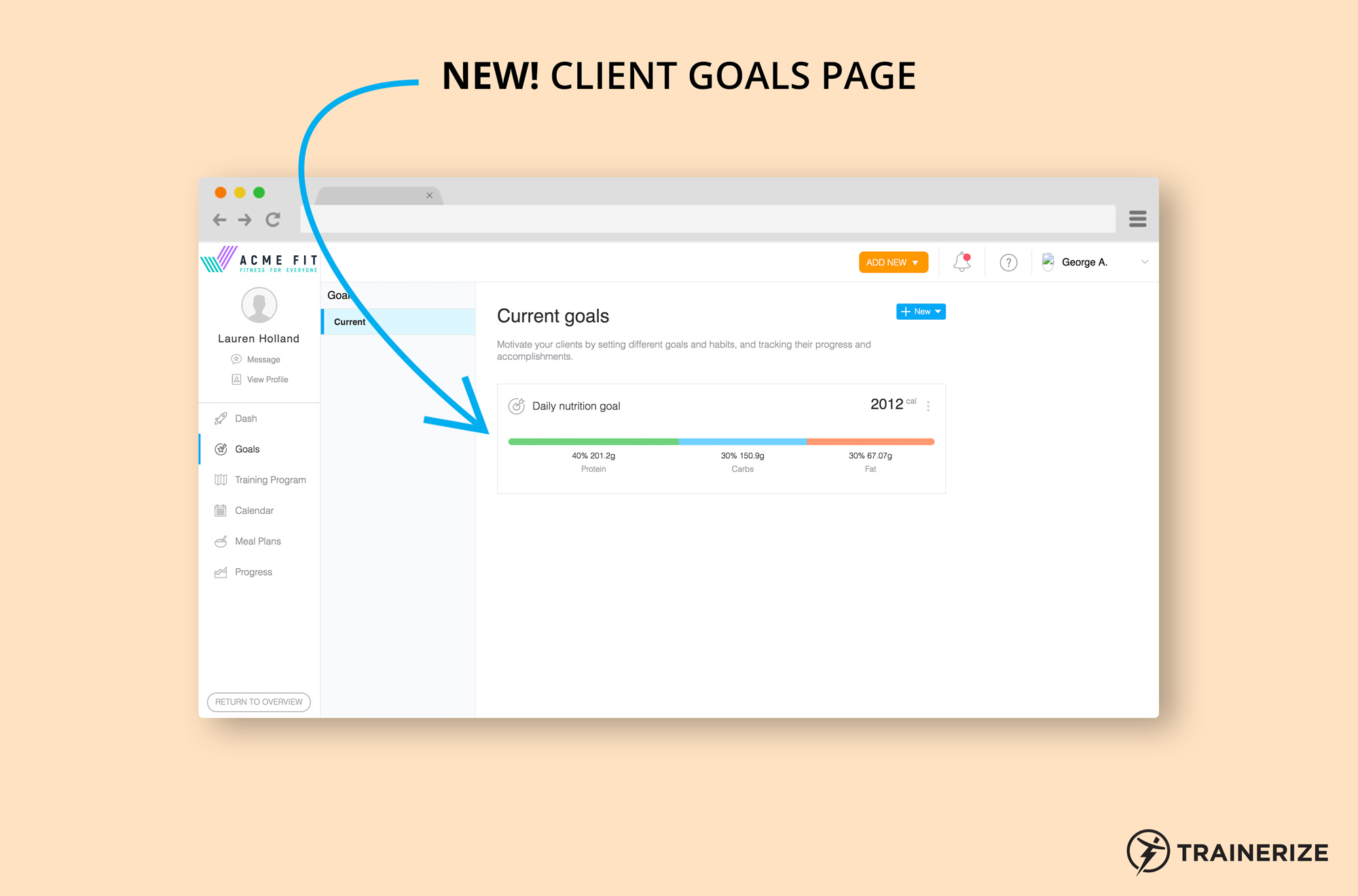 New in Trainerize: Client Goals Page