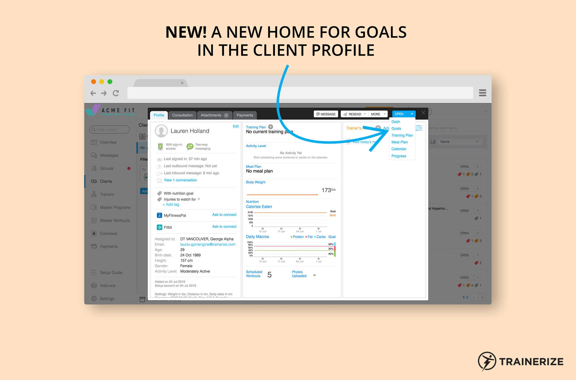 New in Trainerize: A New Home for Goals in the Client Profile