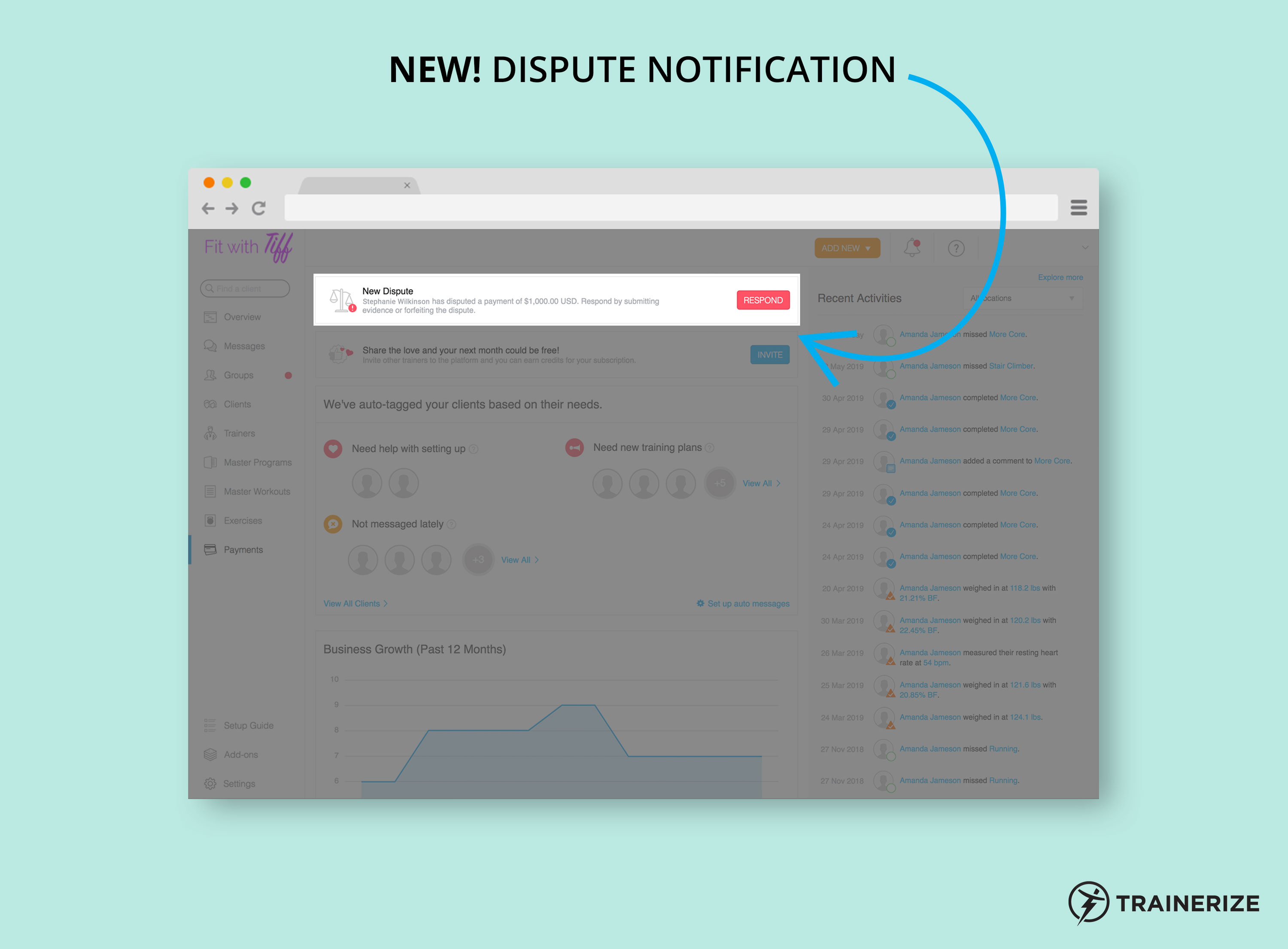 New in Trainerize Pay: Dispute Notifications
