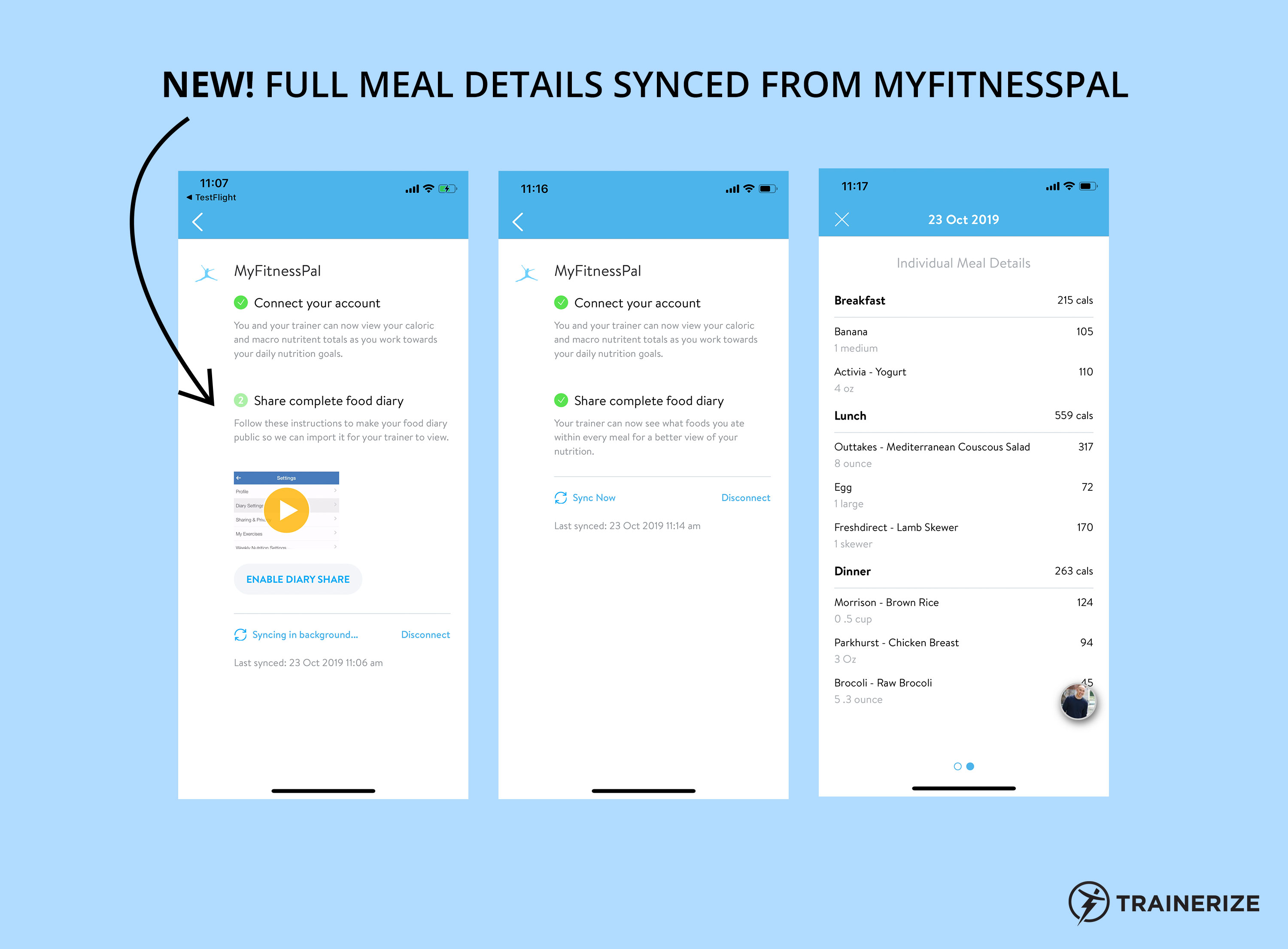Get full meal details synced from MyFitnessPal into Trainerize