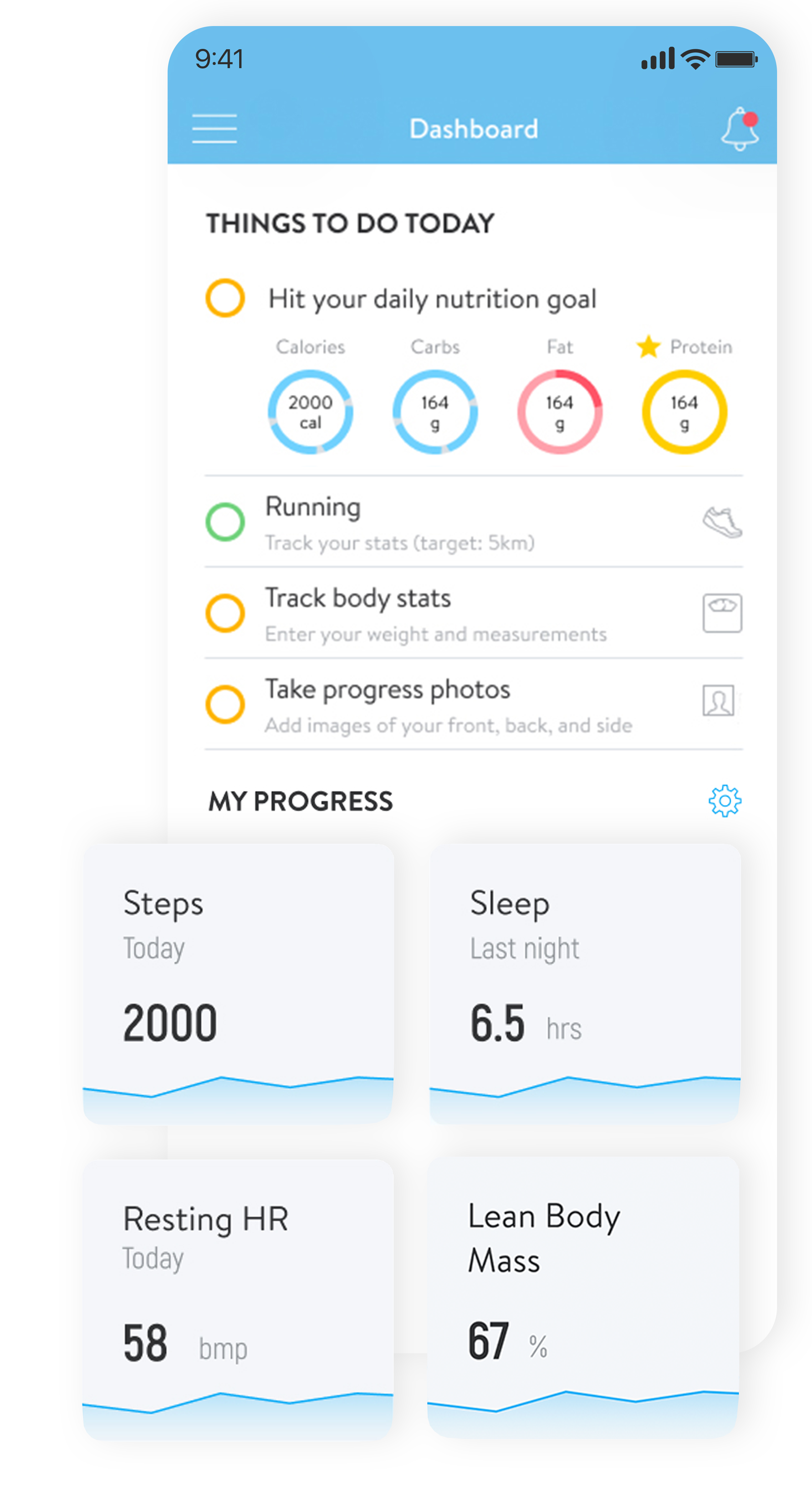 A new dashboard with new progress tiles to display data from Apple Health and wearables