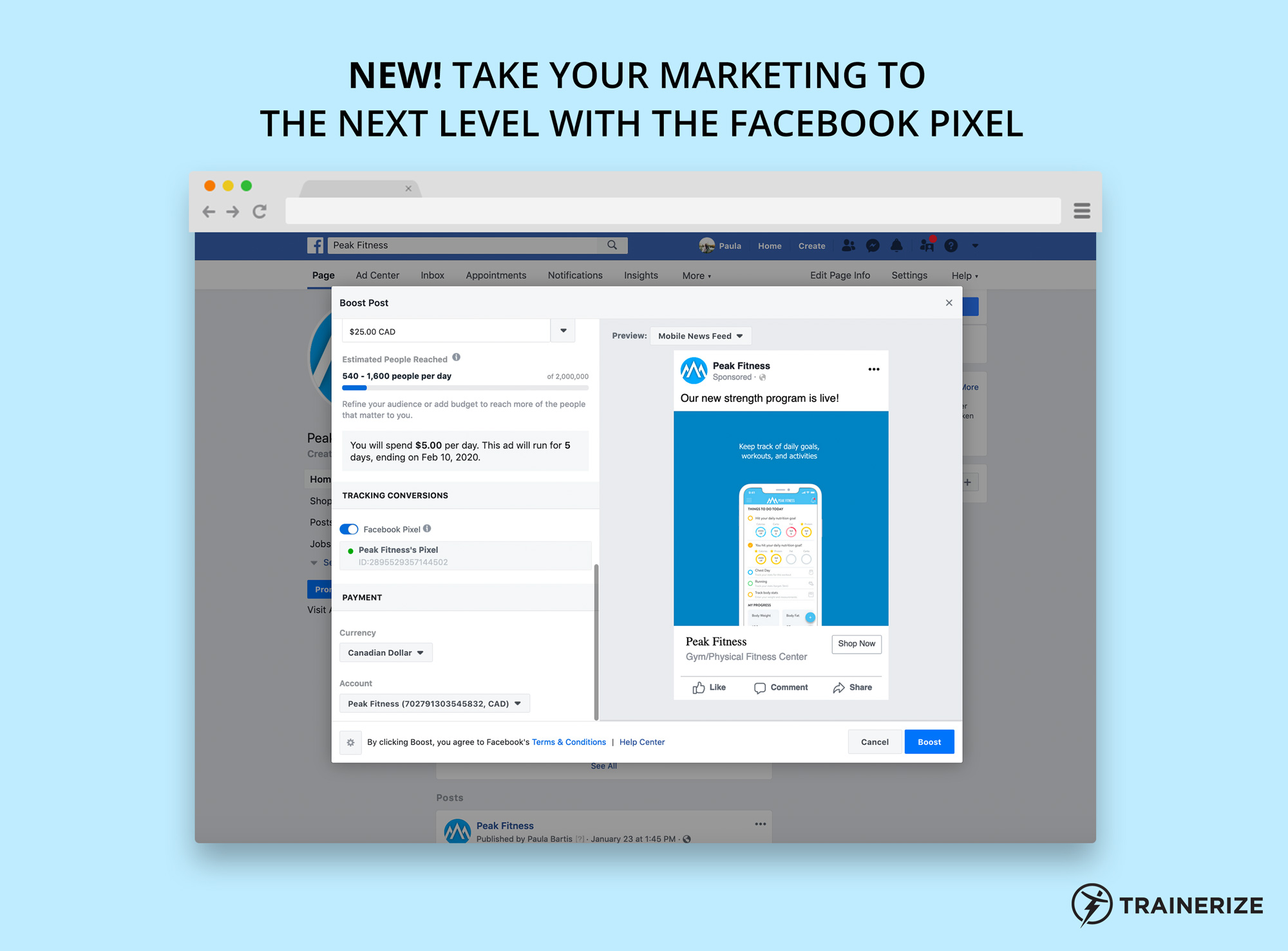 New in Trainerize Pay: Facebook Pixel