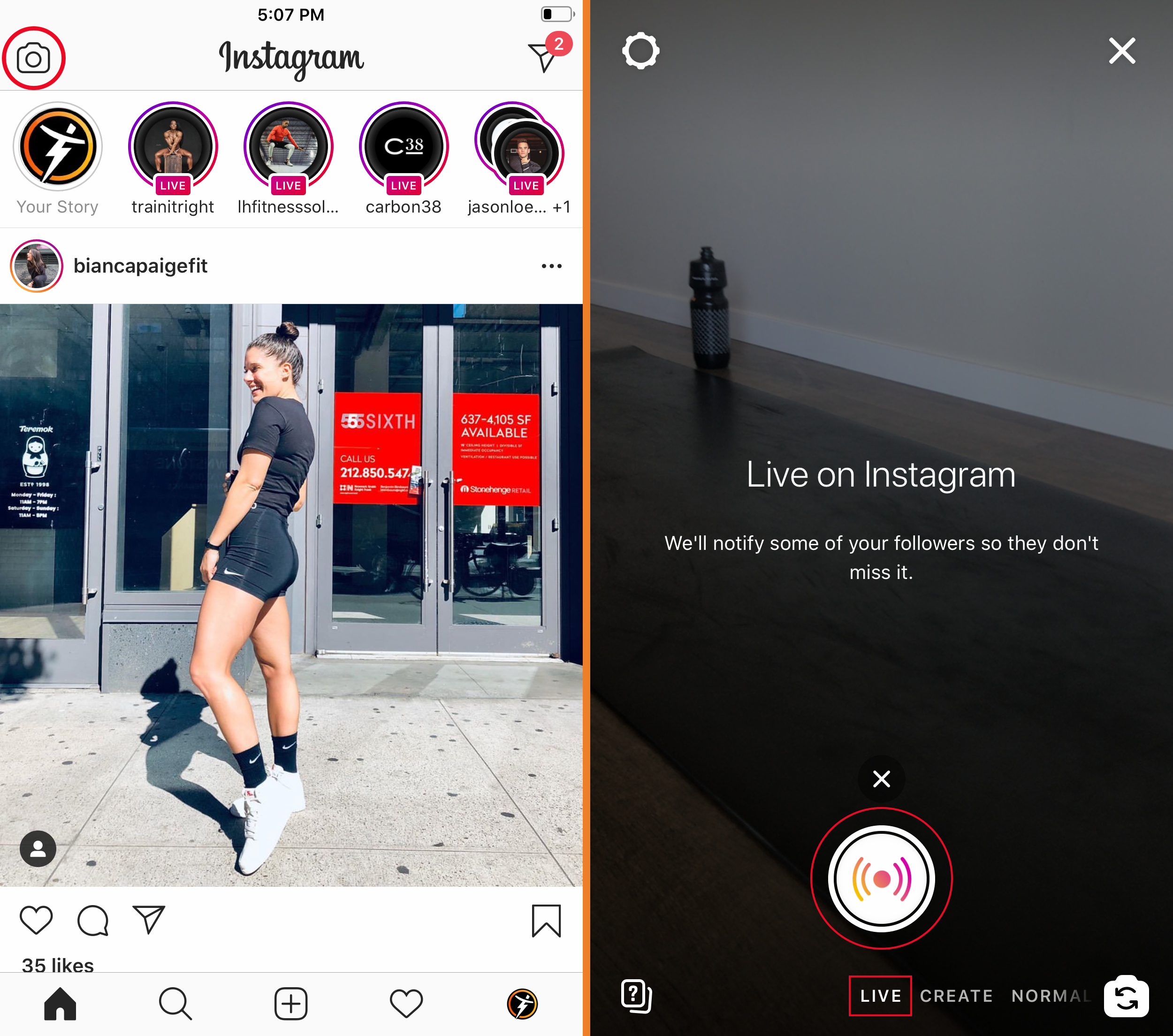 stream live workouts instagram live mobile trainerize
