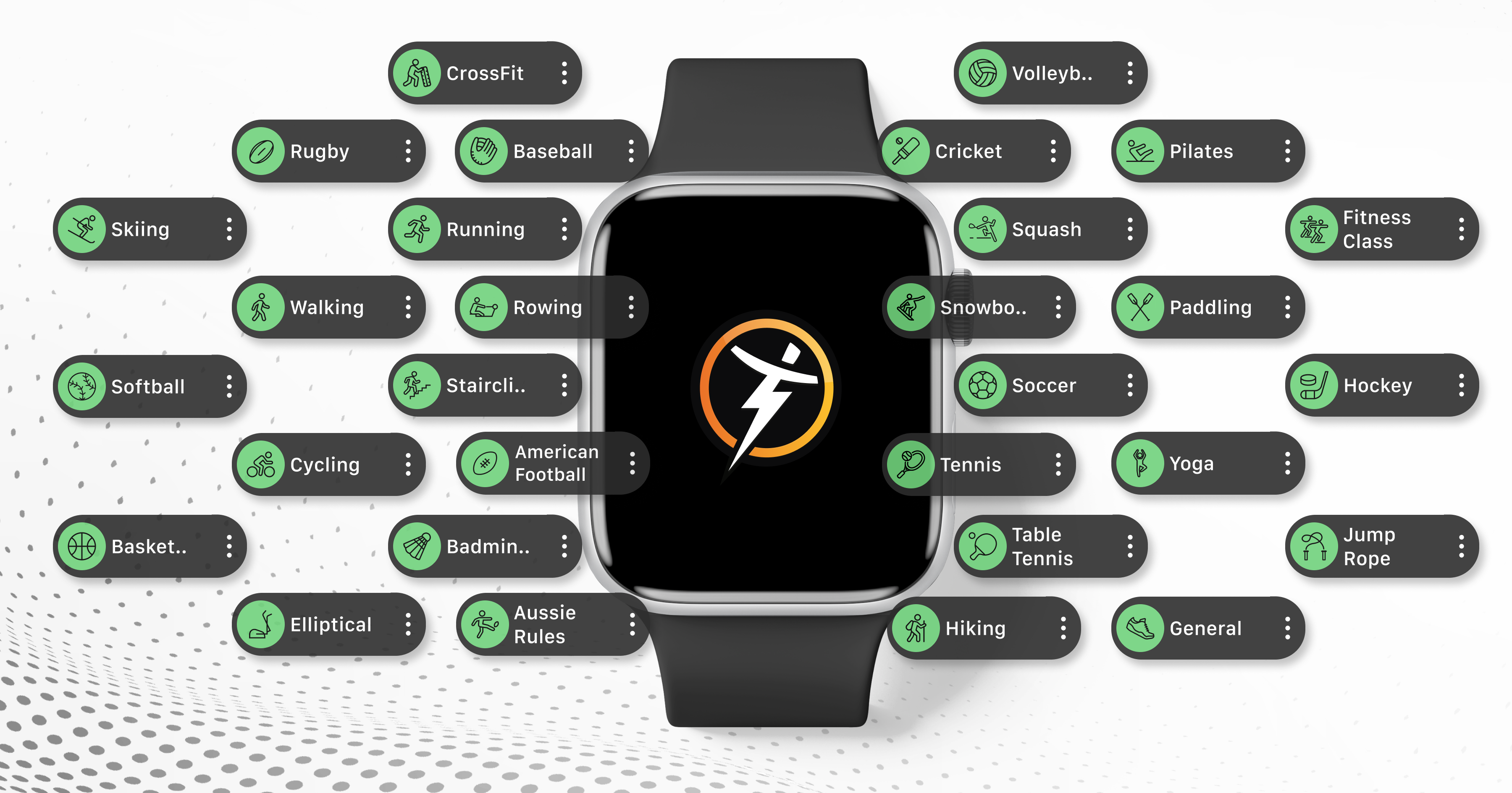 24 new cardio activities on the latest Apple Watch App powered by Trainerize, clients can now track all activities