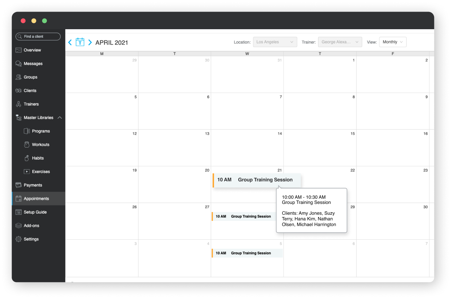 Viewing the Appointments Calendar